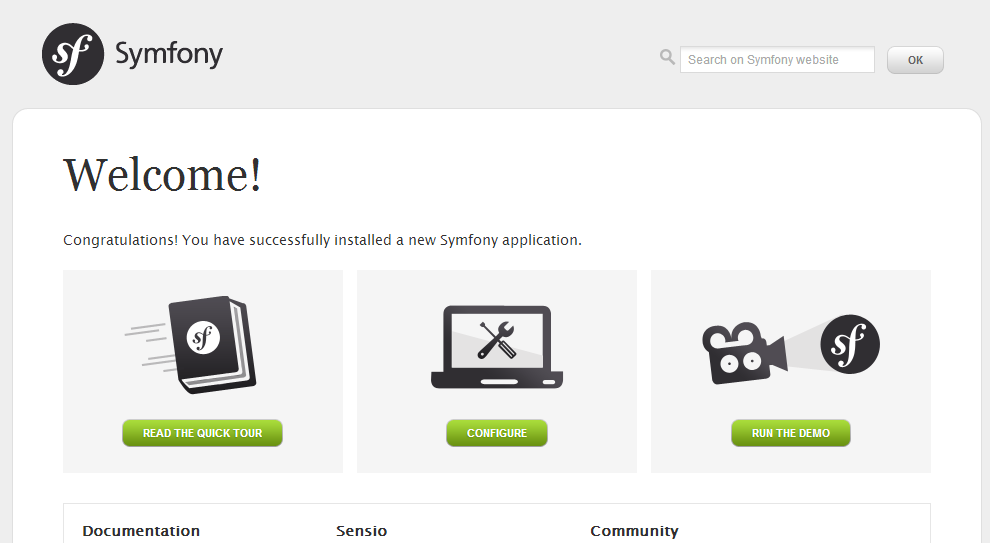 symfony2-welcome-screen